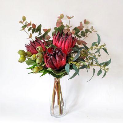 Secret_Blooms_Isabella_Fake_Burgundy_Protea_Hand-Tied_Bouquet