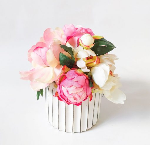 Jackie-small-table-arrangement-artificial-peony