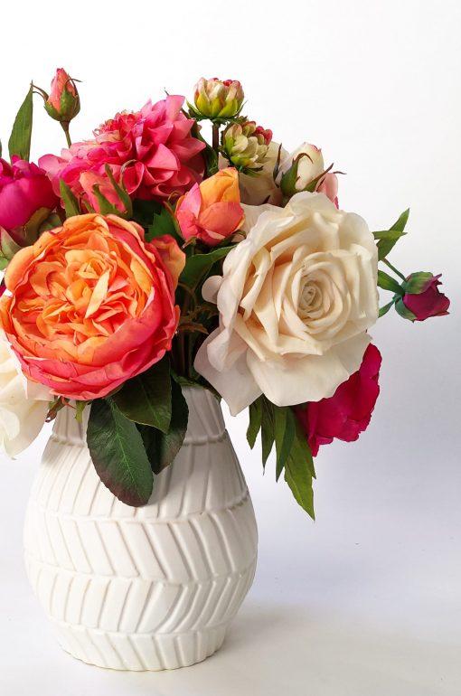 Real-Touch Dahlia Rose vase arrangement