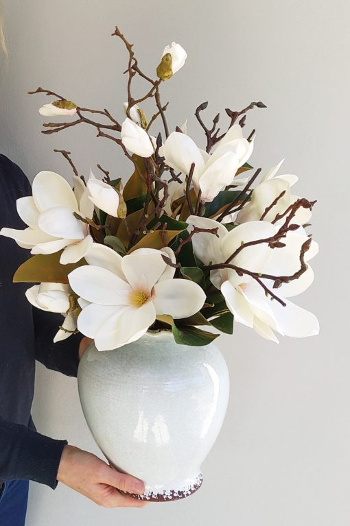 Magnolia large artificial vase arrangement