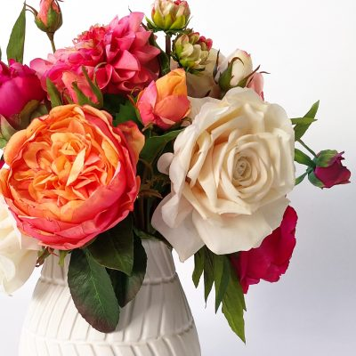 Real-touch Garden rose vase arrangement