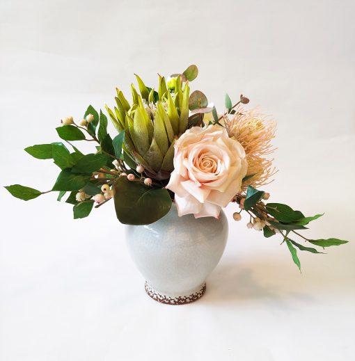 Rose and Protea artificial rose arrangement