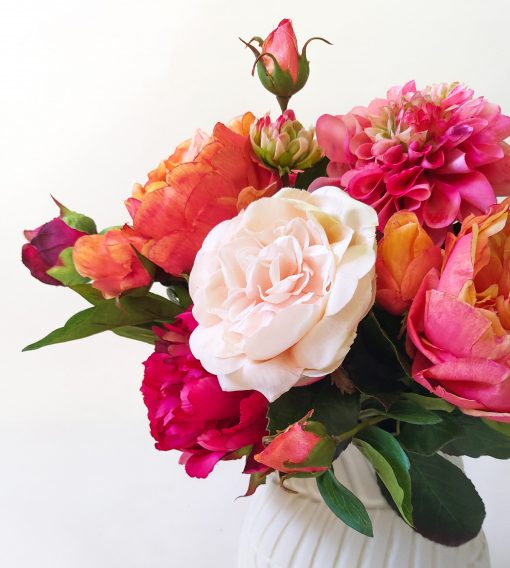 Realistic real-touch Rose Dahlia table arrangement