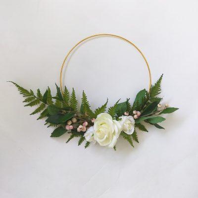 Artificial-Rose-Fern-Hoop-Wreath-Bedroom-Decor
