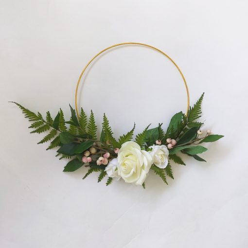 Artificial-Rose-Fern-Hoop-Wreath-Bedroom-Decor