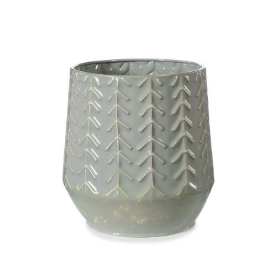 Sage-coloured-metal-vase-pot