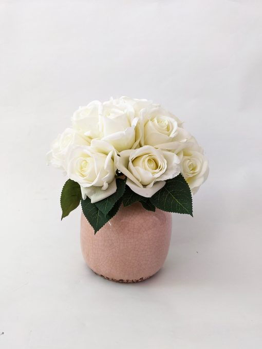 Real-touch-artificial-white-rose-arrangement