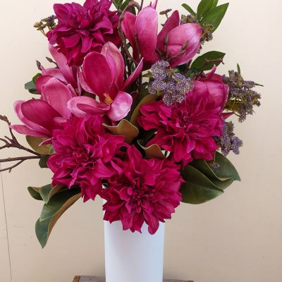 Artificial-burgundy-dahlia-magnolia-arrangement