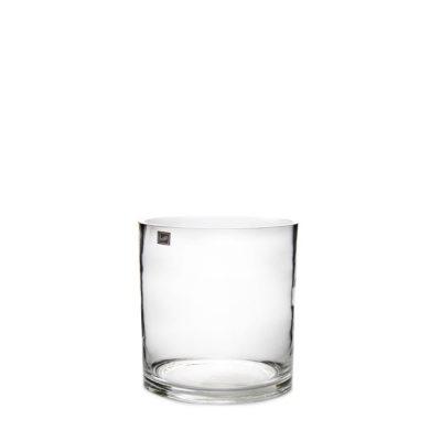 Clear-glass-short-cylinder-vase