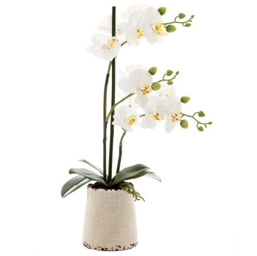Faux-orchid-entry-table-decor