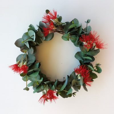 Artificial-Flowering-Eucalyptus-Christmas-Wreath