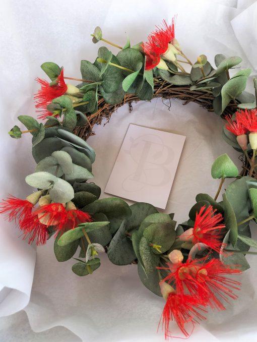 Red-Flowering-Eucalyptus-Artificial-Wreath
